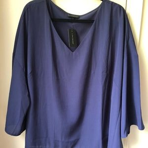 Lane Bryant Navy V-neck Blouse Crepe Loose
